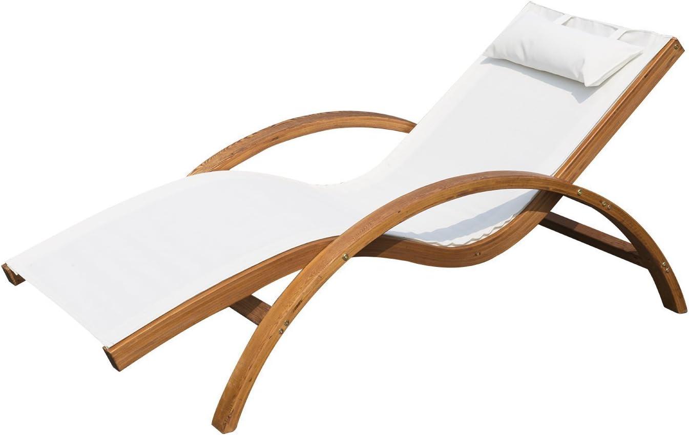 Outsunny Tumbona Tipo Hamaca para Jardín Terraza Playa Piscina o Patio 165x72x70cm Color Blanco Hecha de Madera Malla y Textilene con Almohadilla