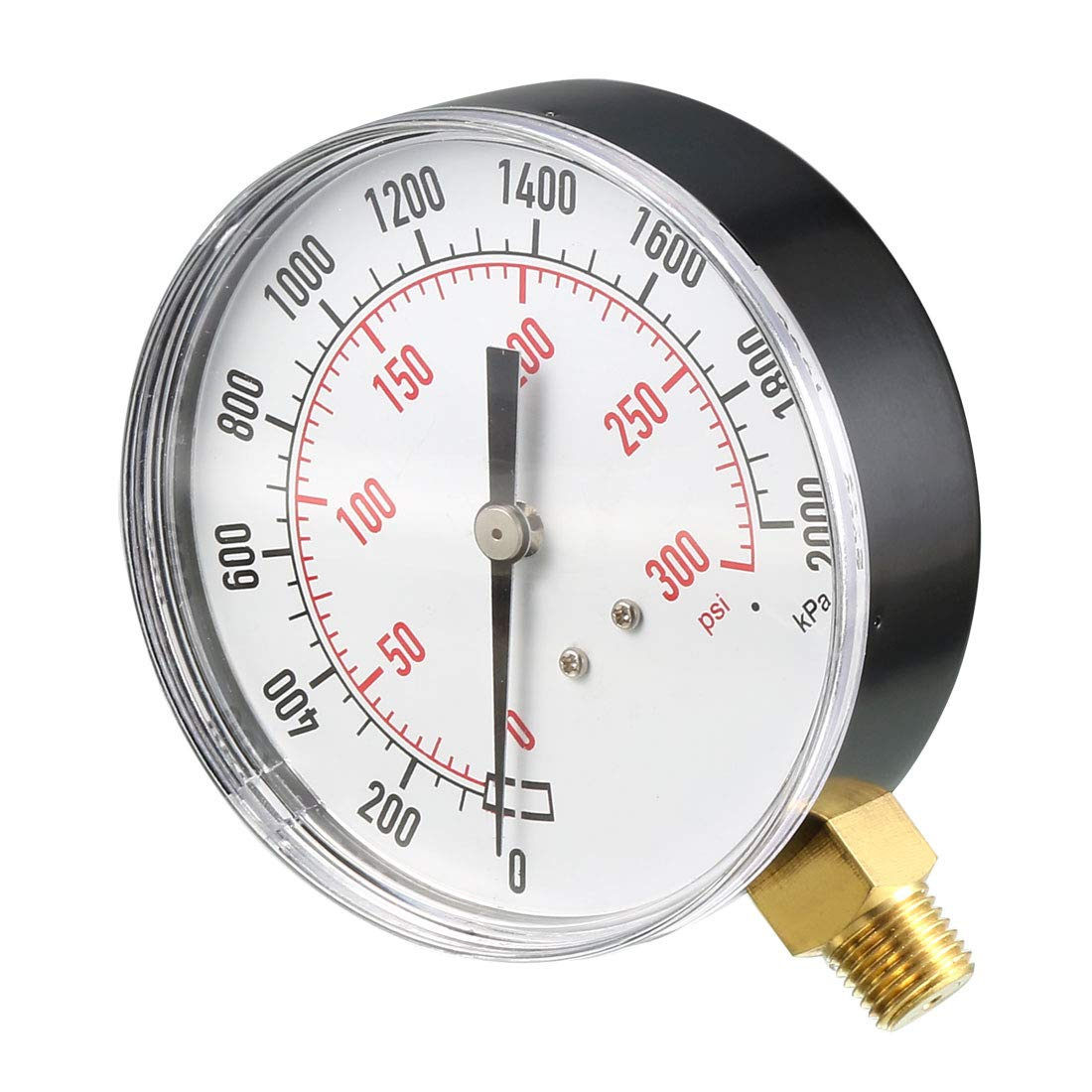0-300 psi//kPa Dual Scale sourcing map Lower Mount Pressure Gauge with Brass Internals for Air Compressor Water Oil Gas 1//4 NPT Male 3-1//2 Dial Display