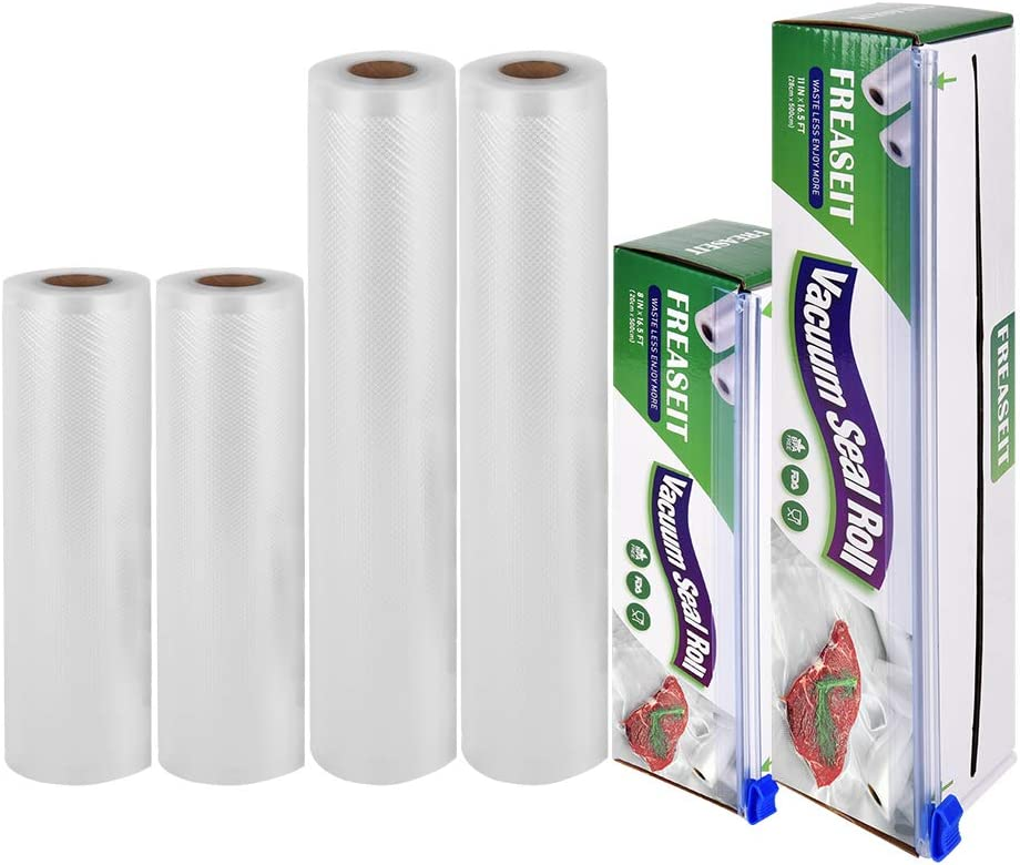 "Vacuum Sealer Bag Rolls for Food, BPA Free Heavy Duty Plastic Sealer Vacuum Packing Bags for Food Saver (2 rolls 8""x16.5' and 2 rolls 11""x16.5')"
