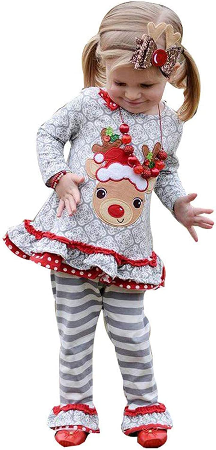 Christmas Girl Outfits Fineser Cute Toddler Kids Baby Girl Christmas Deer Ruffle T-Shirt Tops Stripe Flare Pants Outfits Sets