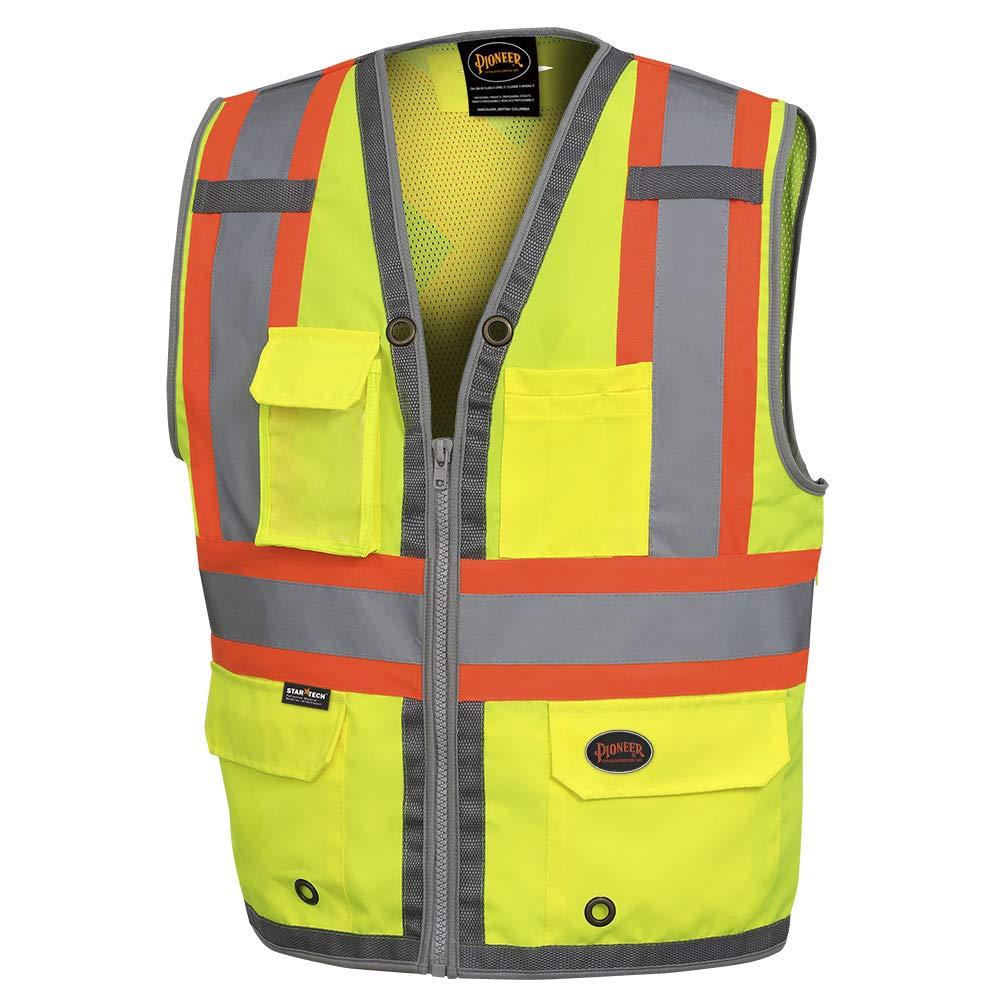 Pioneer Safety Vest for Men – Hi Vis Reflective Neon, Cool Mesh Back Panel, 12 Pockets, Zipper for Surveyor Work – Orange, Yellow/Green