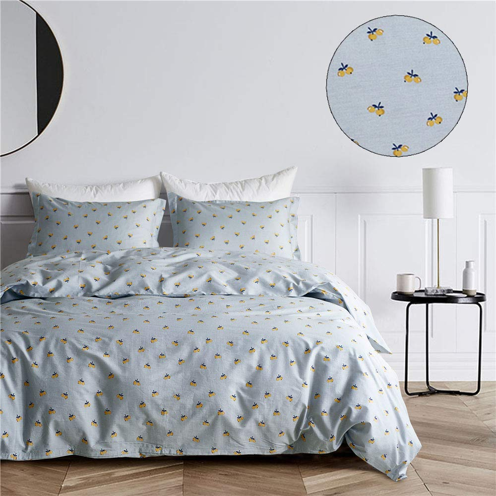 K lemon King mixinni Luxury Bedding 3 Pieces bluee Grey Duvet Cover Set King Triangle Pattern Reversible Design with 100% Soft Cotton, Breathable Hypoallergenic Durable with Zipper Ties