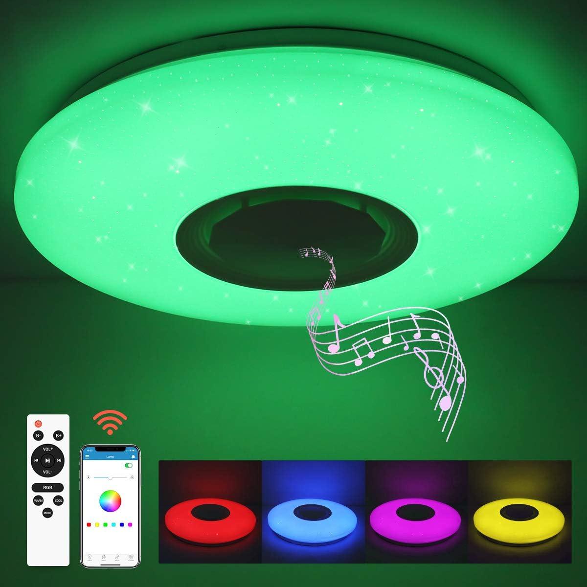 SHILOOK Lámpara LED Techo Regulable con Altavoz Bluetooth, Mando y Aplicación, 24W Plafón Led Techo RGB Cambio de Color para Domitorios Juveniles, Cocina, Salón, 3000-6500K Moderno Redondo 40cm