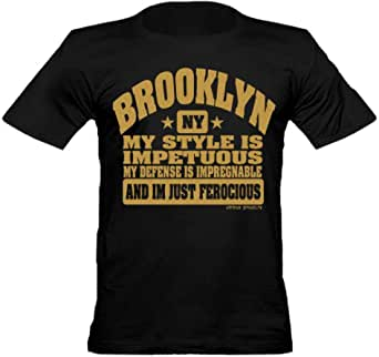 URBAN SHAOLIN Men's Brooklyn Gold Ink Iron Mike Tyson Inspired Fitted T Shirt, Black