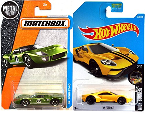 1966 Ford Mustang Convertible (Hot Wheels Ford GT 2017 Hot Wheels #308 Nightburnerz '17 Ford GT yellow + Matchbox 1966 Ford GT-40 # 12 Race Car 1:64 Scale Green in Protective Cases)