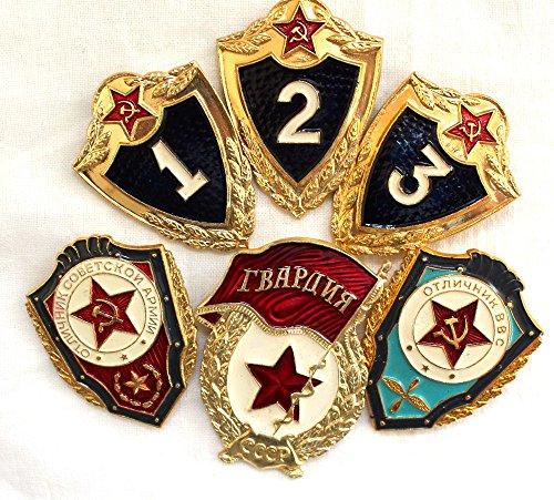 Soviet, USSR ORIGINAL Set of 6 Military Pins Police Cold War Era KGB.