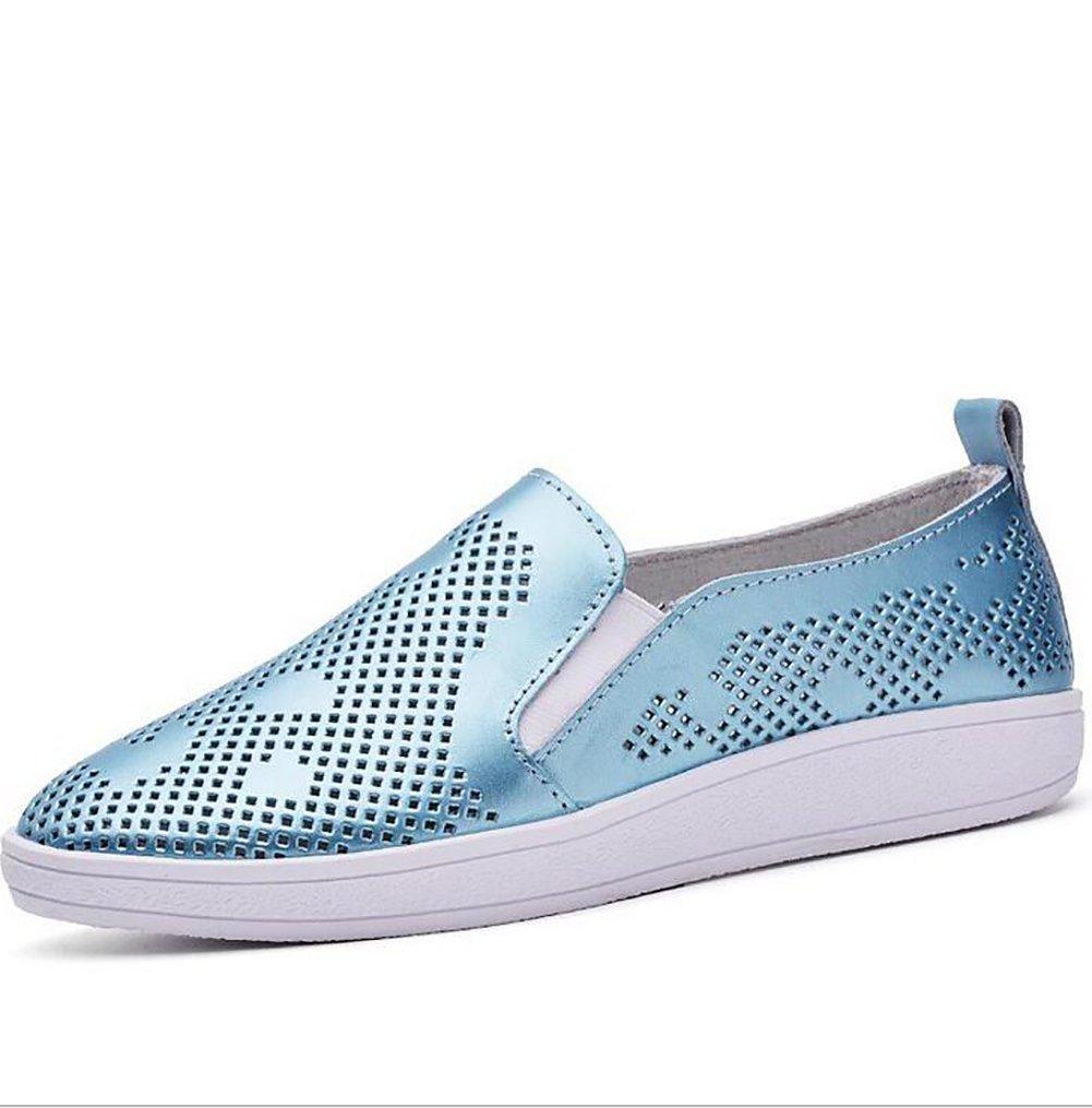 SHANGXIAN Sommer Dicker Boden Sandalen Beilauml;ufig Aushouml;hlen Einfach Flache Schuhe Damen Echtleder Schuhe,Blue,US5/EU35/UK3/CN34  US5/EU35/UK3/CN34|Blue