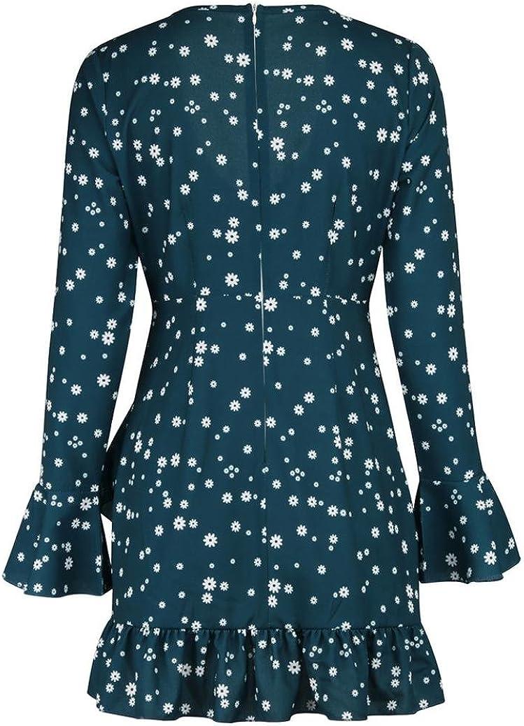 Styledress Sommerkleider Damen Lang,Damen V-Ausschnitt Kleider Elegant Minikleid Floral Langar Kleid Cocktailkleider Frauen Dot Print Kleid Strandkleid R/üschenkleid