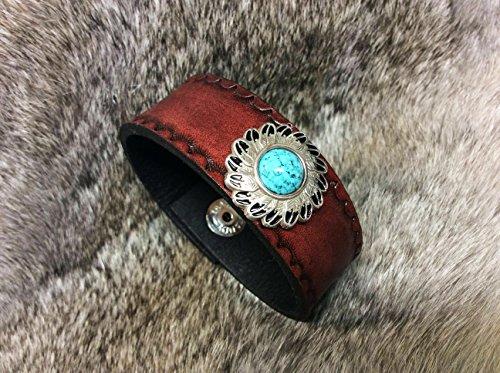Southwester style leather bracelet with turquoise concho, Men's Bracelet, Lady's Bracelet, Mahogany, western