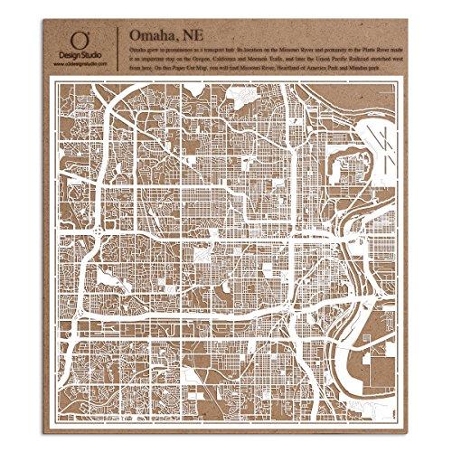 Omaha, NE Paper Cut Map by O3 Design Studio White 12x12 inches Paper Art]()