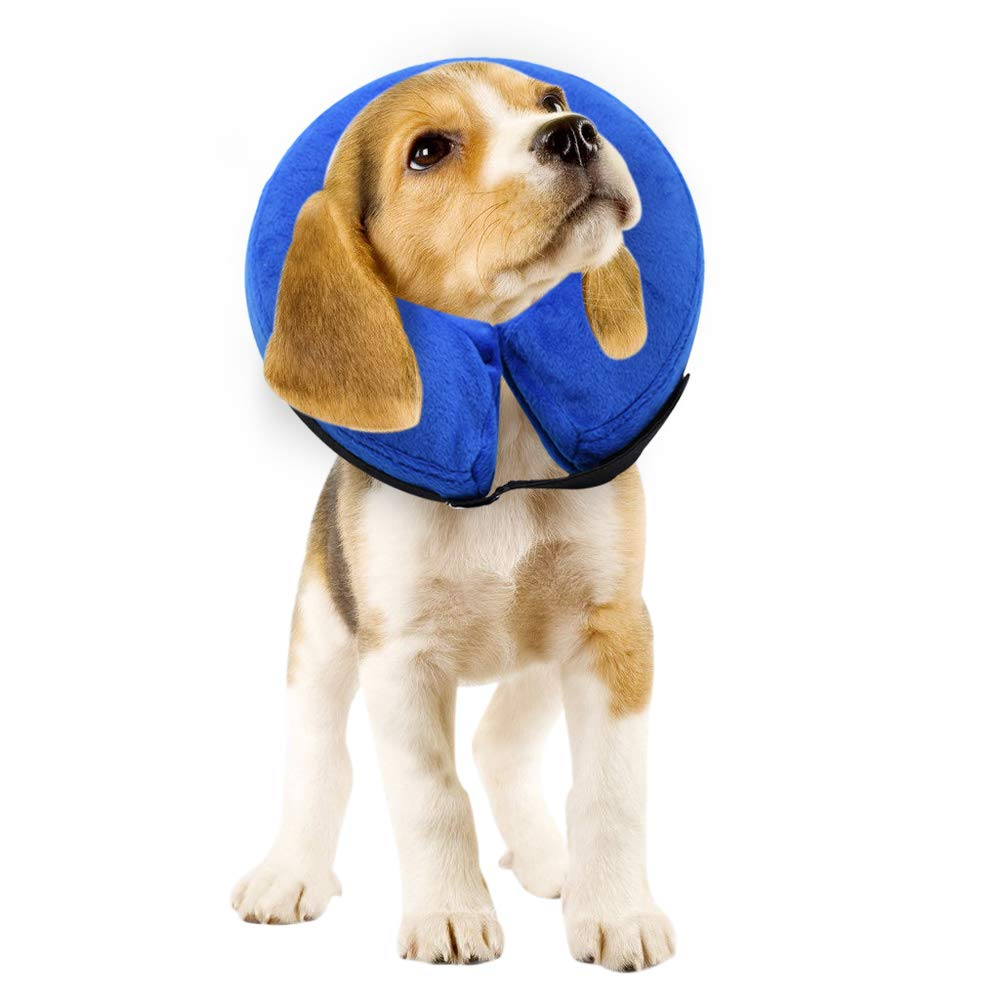 E-KOMG Dog Cone After Surgery, Protective Inflatable Collar, Blow Up Dog Collar, Pet Recovery Collar for Dogs and Cats Soft (M) by E-KOMG