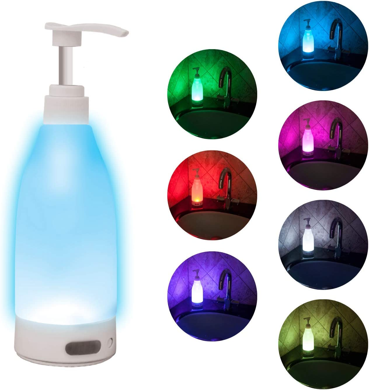 Soap Brite SOAP-MC6 LED Lighted Dispenser-12.8 Ounces-7 Soothing Color Options, Multi