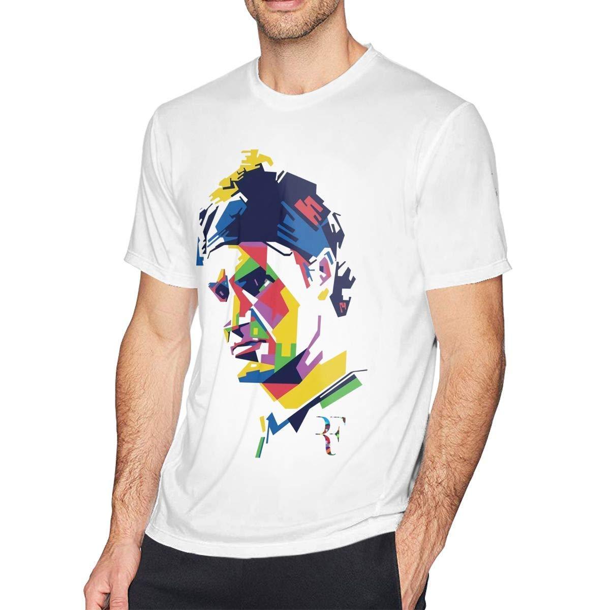 PEGGYNCO Mens Classic Roger Federer Tee White