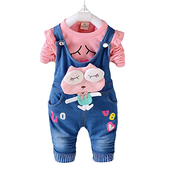 cfe10cbc879c XHZ Boys and Girls Cartoon Applique T-Shirt and Dungaree Set in Pink Colour  for