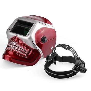 Solar Pro Auto Oscurecimiento Soldadura Casco Arco TIG Mig Máscara con patrón de cráneo Rojo: Amazon.es: Bricolaje y herramientas