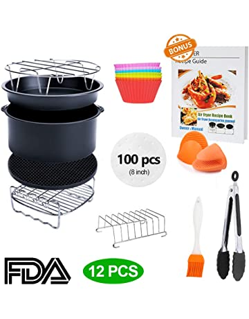 8 inch XL Air Fryer Accessories 11 pcs with Recipe Cookbook Compatible for Gowise USA Cozyna