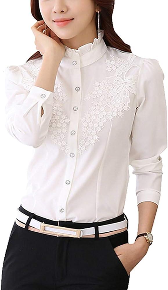 Blusas Mujer Blanco Primavera Otoño Casual Elegante Camisas Vintage Ocasional Hipster Camisa De Manga Larga Unicolor Manga Larga Stand Cuello Splice Encaje Botonadura Shirt Tops: Amazon.es: Ropa y accesorios