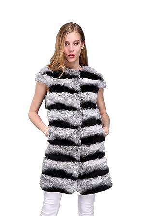 Rabbit Genuine Long Lvcomeff Women Rex Chinchilla Fur 1706023 Vest 45RALj