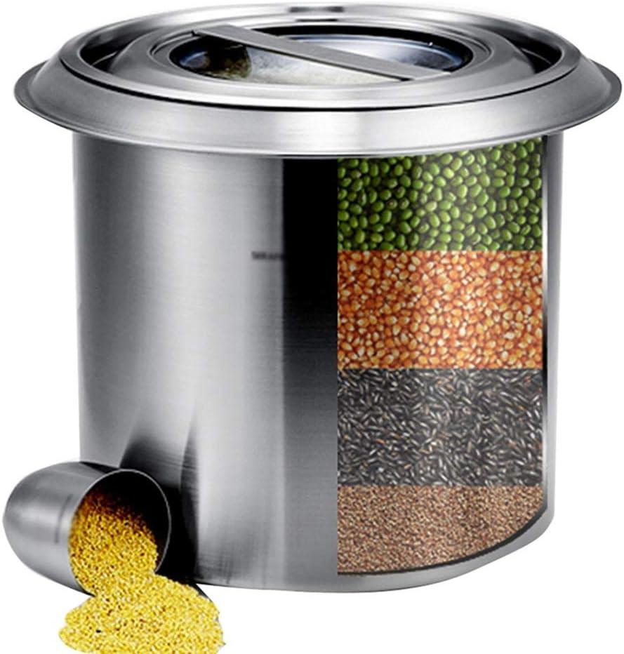 米びつ ライスバケツ穀物貯蔵容器ステンレススチール製食品保存封印されたメッシュメーターボックス10キロ/防湿シール (Color : Silver, Size : 26*26*26cm)