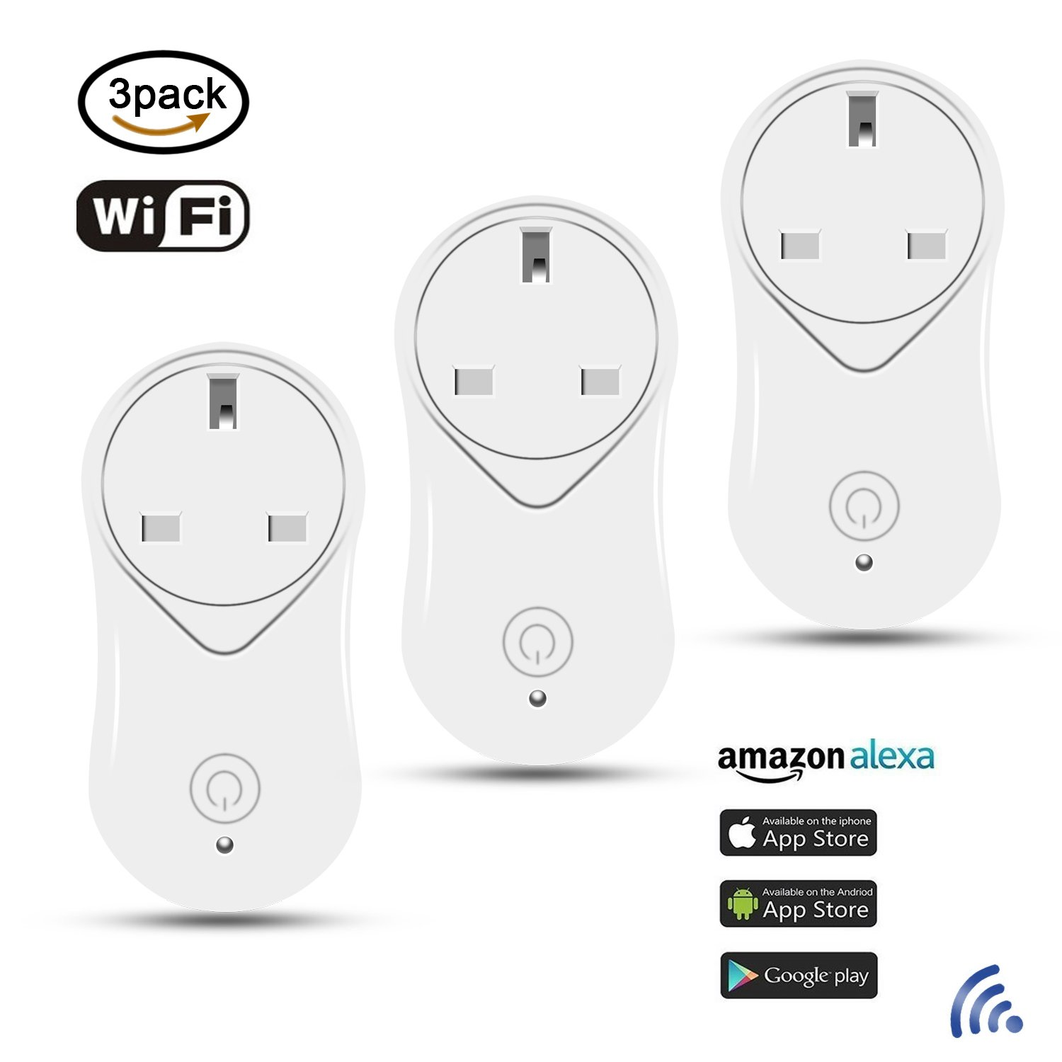 ZHIHONG WiFi Smart Plug,Mini Outlet Works with  Alexa and Google Assistant,with USB Port, Remote Control Switch, Timing Function, No Hub Required,3 Pack(UK Plug)