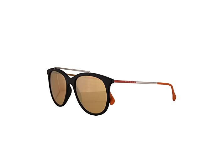 Amazon.com: Prada SPS 02TS Sunglasses Black Rubber w/Orange ...