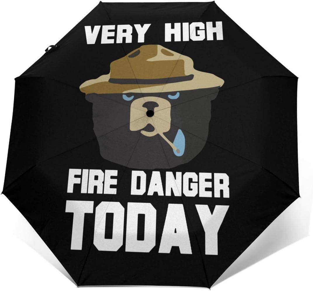 Very High Fire Danger Today Automatic Tri-Fold Umbrella Parasol Sun Umbrella Sunshade