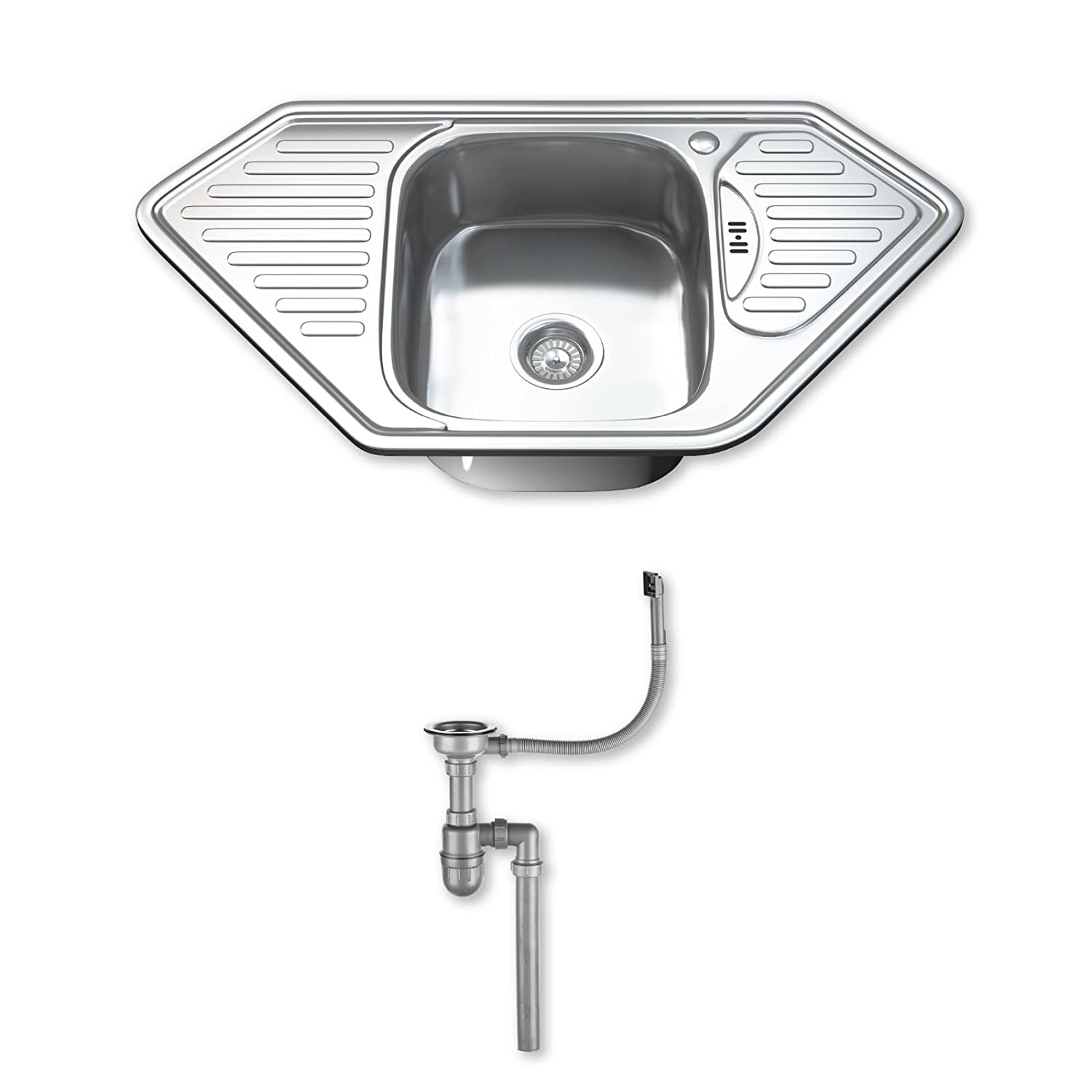 Wonderful Dihl KS 1071 WST1 1.0 Single Corner Bowl Stainless Steel Kitchen Sink With  Drainer And Waste   Chrome: Amazon.co.uk: DIY U0026 Tools