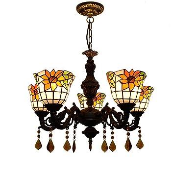 GAOLIQIN 5- Cabezas de Estilo Tiffany Lámparas de Cristal ...