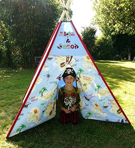 Pirate Teepee Boys girls named Personalized tipi play tent play house Bespoke by Sarah Anns