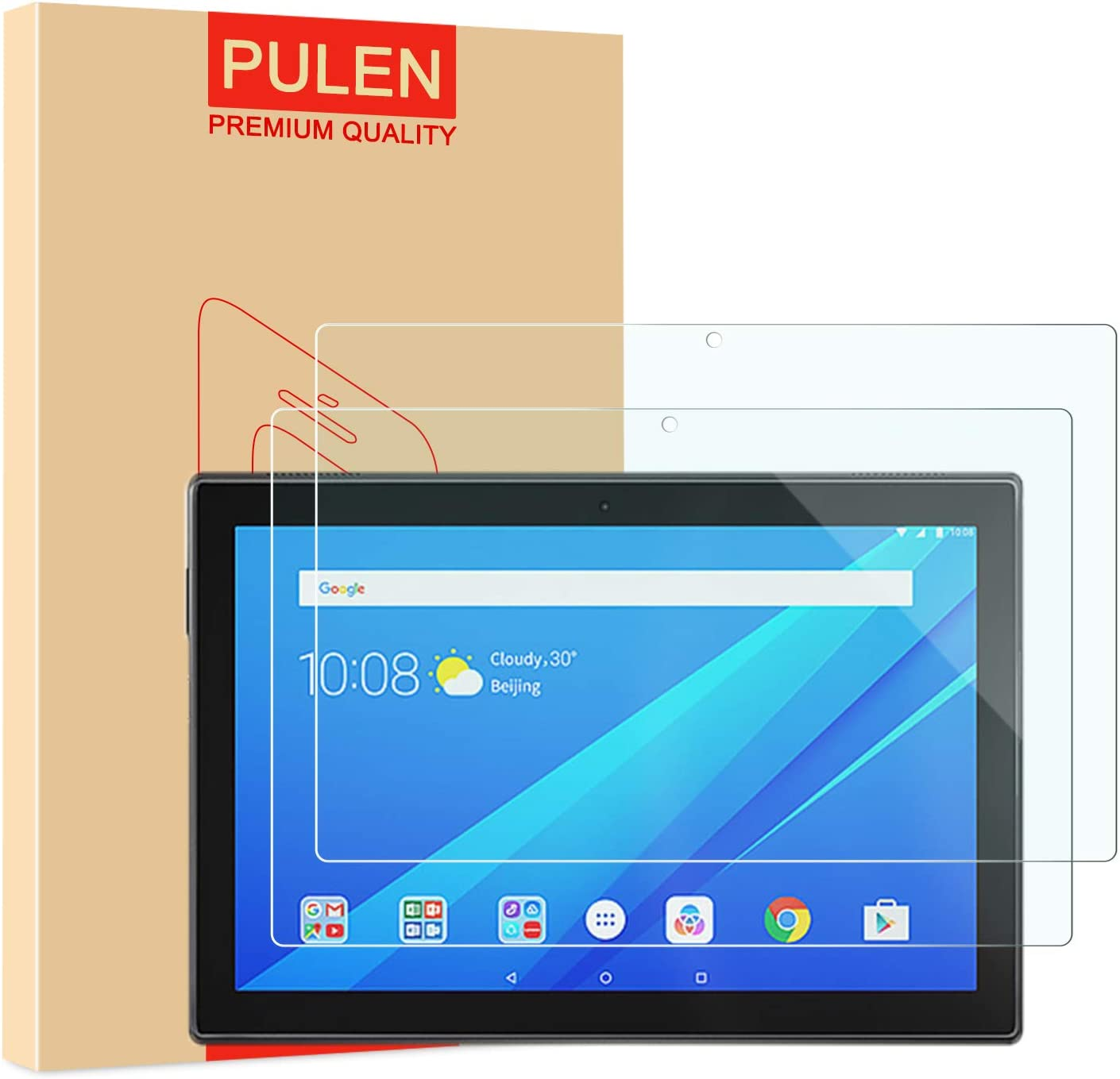 "[2-Pack] PULEN Screen Protector for Lenovo Tab M10 10.1""(Not for Lenovo M10 Plus),HD Clear Easy Installation Anti-Fingerprints Bubble free 9H Hardness Tempered Glass"