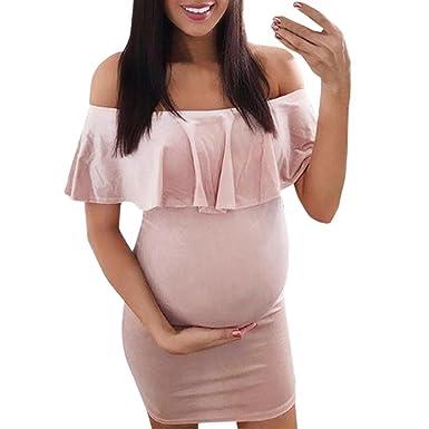 K-youth Vestidos Embarazada Ropa Premama Vestido para Mujeres Embarazadas Vestidos Premama Verano Sin Tirantes