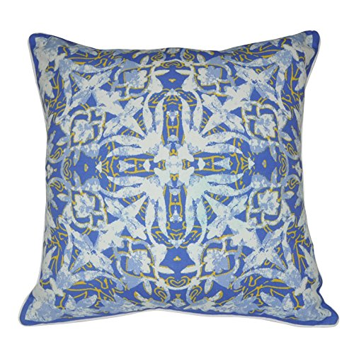"""UPC 840574100252, Loom and Mill P0026-1818P 18"""" x 18"""" Blue Damask Decorative Pillow"""