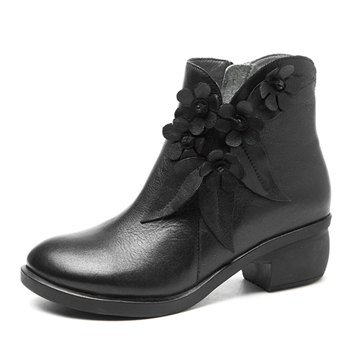 Socofy Leather Ankle Bootie, Women's Vintage Handmade Fashion Leather Boot Rose Floral Shoes Oxford Boots B077FXQV6K 9 M US|Black Style 2