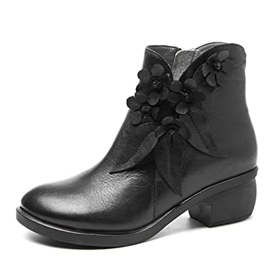11f57437ca8 socofy Leather Ankle Bootie