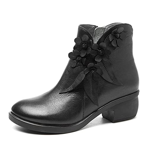 dd2cd941885 socofy Leather Ankle Bootie, Women's Vintage Handmade Fashion Leather Boot  Rose Floral Shoes Oxford Boots