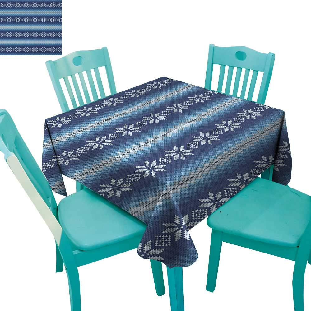 longbuyer Winter,Washable Tablecloth,Traditional Scandinavian Needlework Inspired Pattern Jacquard Flakes Knitting Theme,70''x70'',Suitable for Kitchen, dustproof Desktop Decoration