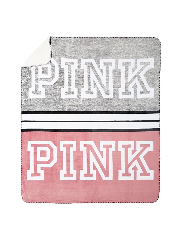 Love pink cheetah bedding - Amazon Com Victoria S Secret Pink Plush Soft Sherpa Blanket Grey Begonia Pink Stripe Clothing