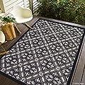 Black Allstar Indoor Outdoor All Weather Rug with Modern Floral Pattern Design