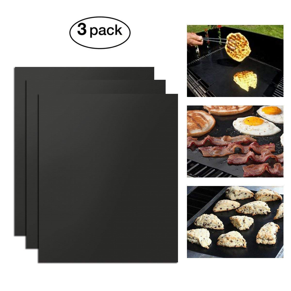 Ideapro Non Stick BBQ Grill Mats Set of 3 - Oven Liner Baking Cooking Mat - Perfect for Baking on Gas, Charcoal, Oven and Electric Grills