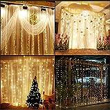 KNONEW LED Luci Cascata per Finestra Porta 3 x 3m 300 LED, 8 Modalità, Funzione di Memoria Lucine fatate romantiche per il Natale, Festa, Matrimonio, Soiree Compleanno, Decorazione di DIY(bianca calda )