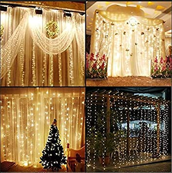 Curtains Ideas curtain lights for bedroom : KNONEW LED String Lights -- 300LEDs Outdoor Indoor Window Curtain ...