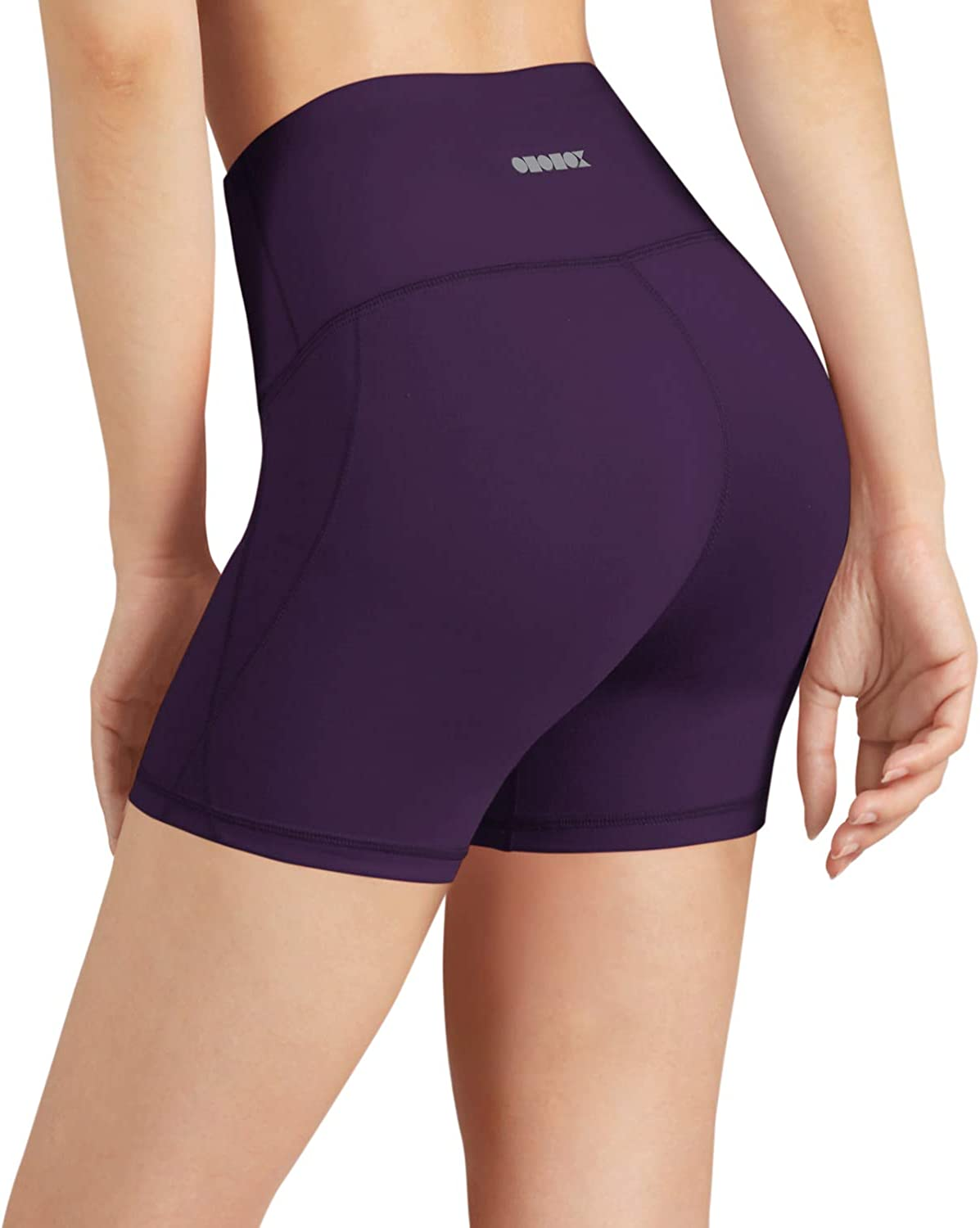 ODODOS Women's Yoga Short Tummy Control Workout Running Athletic Non See-Through Yoga Shorts with Hidden Pocket: Clothing