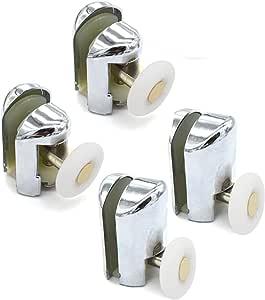 Juego de 4 rodillos cromados para mampara de ducha, 2 superiores y 2 inferiores, YQ2028: Amazon.es: Bricolaje y herramientas