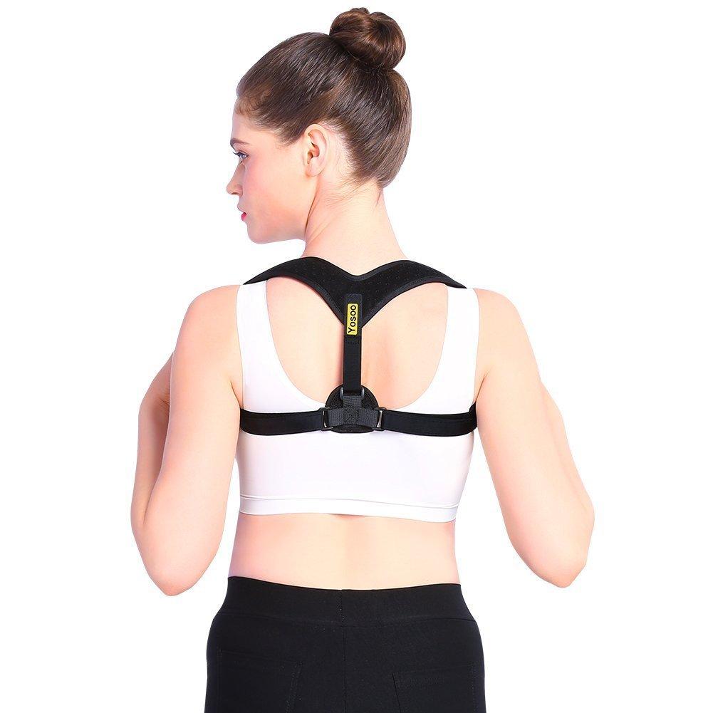 Actualizado Yosoo Corrector de espalda de la clavícula del apoyo de la ayuda del hombro Lesión clavícula Corrección Enderezar superior de la espalda se encorva correctiva para aliviar el dolor de cuello y torácica (L) ZJchao YSO-BBJ22