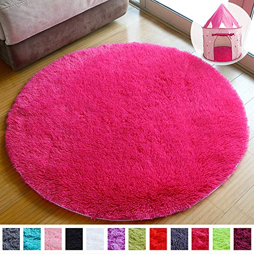 PAGISOFE Super Soft Circle Rugs for Girls Princess Castle Toddlers Play Tent 41 Diameter Circular Rugs for Kids Bedroom Baby Room Round Shag Area Playroom Teepee Carpets and Nursery Rugs (Rose red)