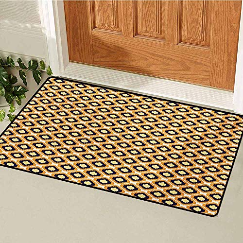 GUUVOR Ikat Commercial Grade Entrance mat Geometric Pattern with Indonesian Rhombus Shapes Image Vibrant Color Palette for entrances garages patios W29.5 x L39.4 Inch Orange Yellow Indigo