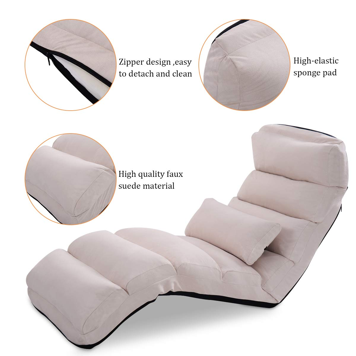 Giantex Folding Lazy Sofa Chair Stylish Sofa Couch Beds Lounge Chair W/Pillow (Beige)