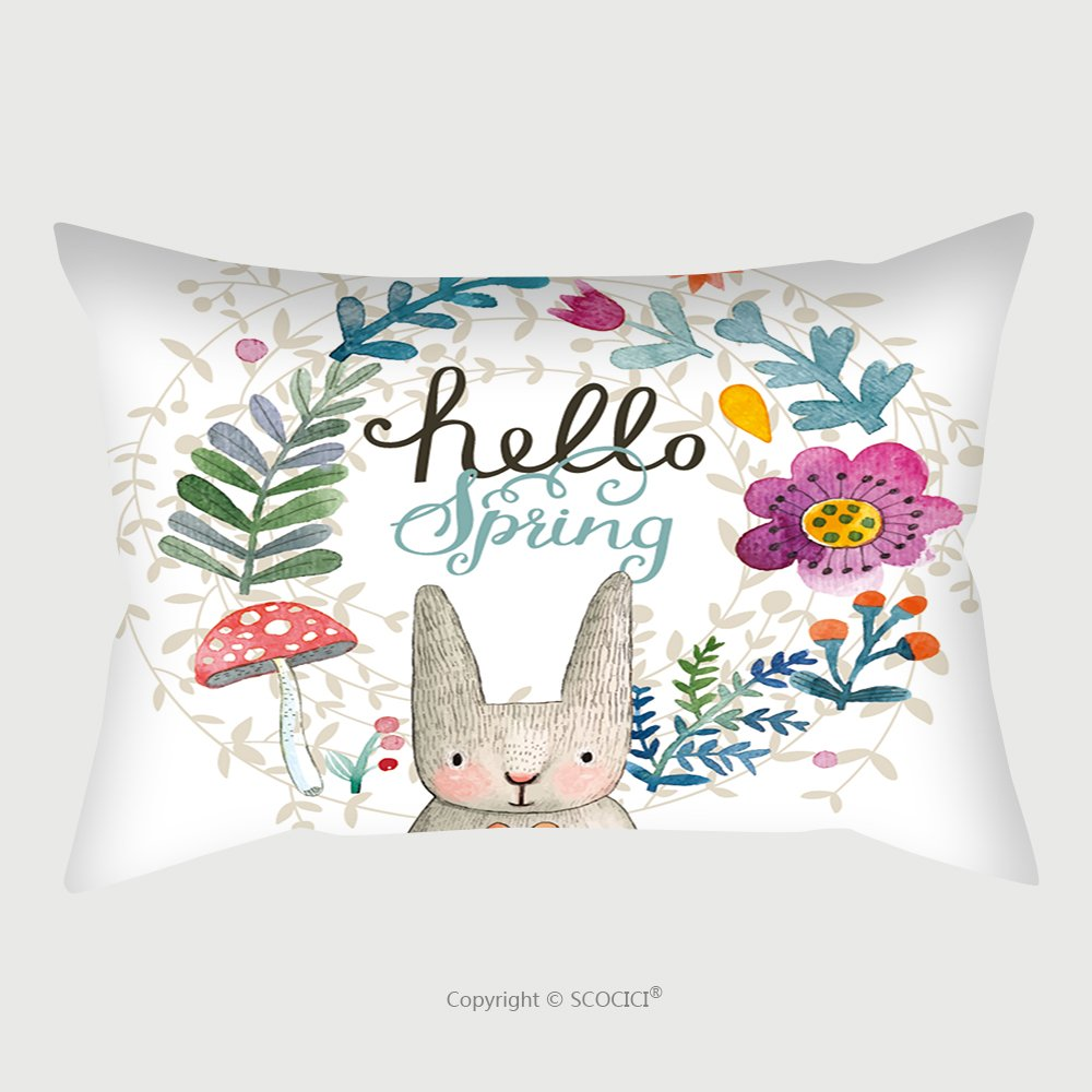 Custom Satin Pillowcase Protector Cute Card With Lovely Rabbit With Heart Flowers Leafs And Mushroom In Awesome Colors Lovely 278867162 Pillow Case Covers Decorative by chaoran