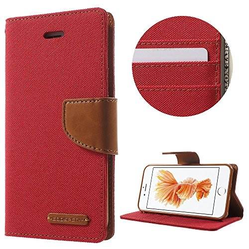 MERCURY GOOSPERY für iPhone 7 4.7 Canvas Diary Leather Wallet case - Tasche Hüllen Schutzhülle - Red