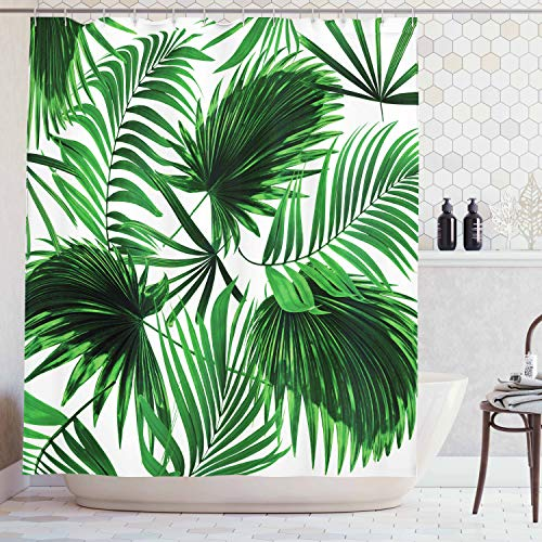 (Ambesonne Palm Leaf Shower Curtain, Realistic Vivid Leaves of Palm Tree Growth Ecology Lush Botany Themed Print, Fabric Bathroom Decor Set with Hooks, 70 inches, Fern Green)